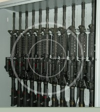 Combat Weapon Rack storing M4 rifles