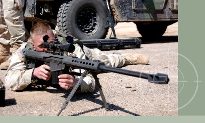 United States Army Soldier firing M107 sniper rifle during training excercises for Operation Iraqi Freedom. M-107 sniper rifles can be stored in Combat Crew-Served Weapons Storage Racks with the bi-pod attached to the weapon.