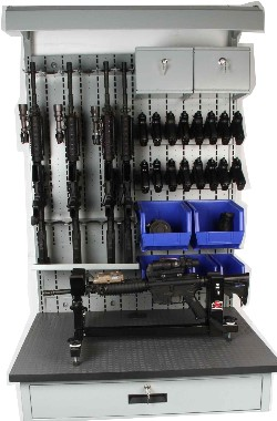 Combat Armory Workbenches for military and law enforcement armories.